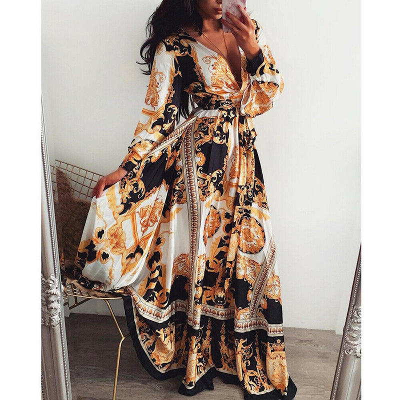 Beach Maxi Dress Women Floral Print Boho Long Chiffon Dress Ruffles Wrap Casual V-Neck Sexy Party Dress