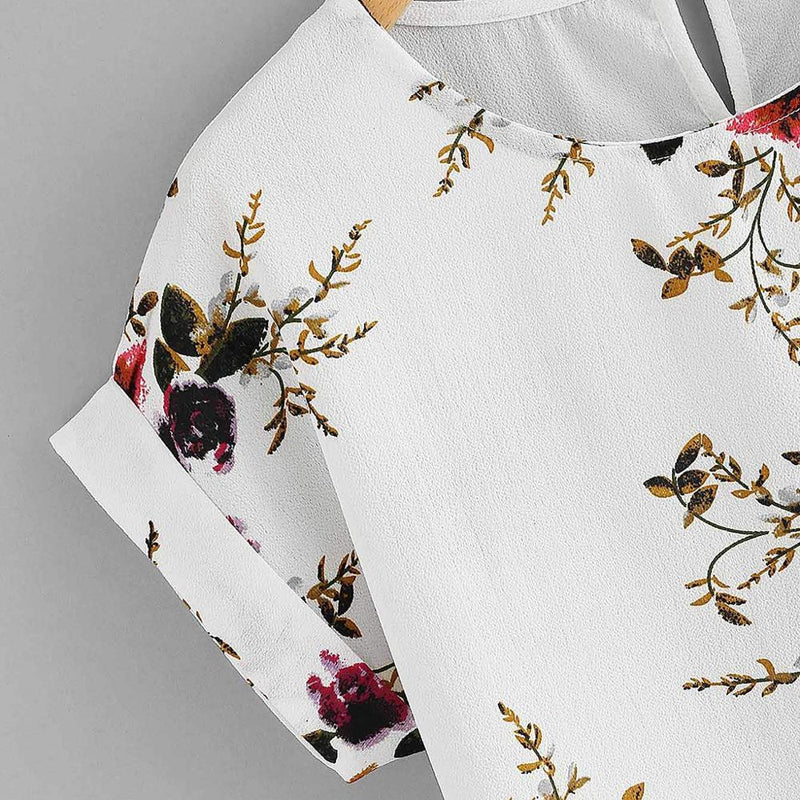Fashion Floral Print Blouse Pullover Ladies O-Neck Tee Tops Female Women's Short Sleeve Shirt Blusas Femininas Clothing