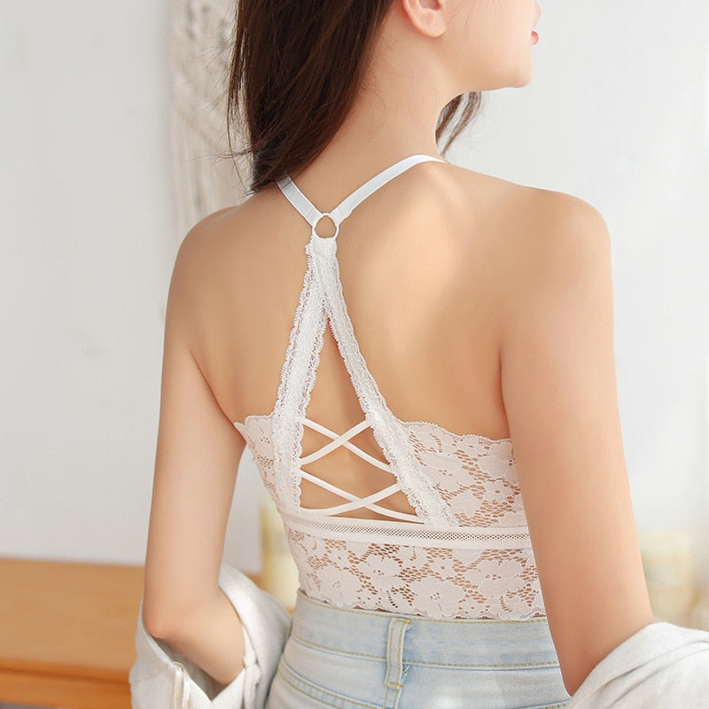 Women Hollow Out Bralette Solid Color Beauty Back Lace Underwear Sexy Vest Female Add pad Wireless Bra Seamless Lingerie