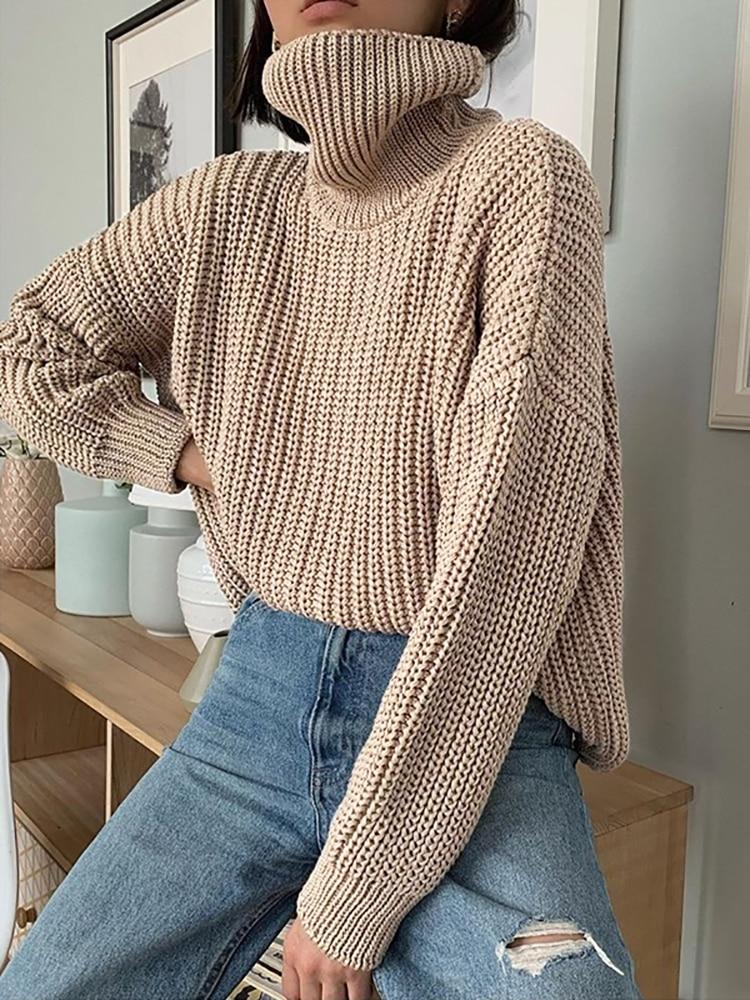 Knitted Turtleneck Sweater Women Thick Long Oversized Sweaters Women Solid Cashmere Pullovers Korean Tops