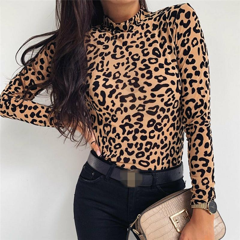 Women Blouses Fashion Leopard Print Turtle Neck Blouse Long Sleeve Shirts Party Ladies Clothes Womens Blouses And Tops