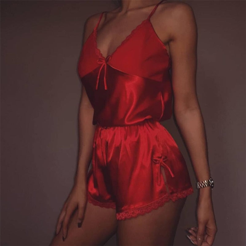 Women Sexy Lingerie set Lace Crop Top shorts pajamas set Sleepwear Satin pijama Nightwear pyjama femme Night suit