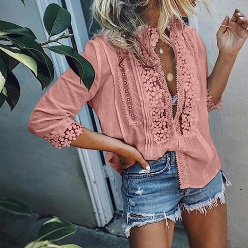Women's Lace Ruffled Shirts Plus Size 3/4 Sleeve Patchwork Office Lady Women Tops and Shirt Top Female