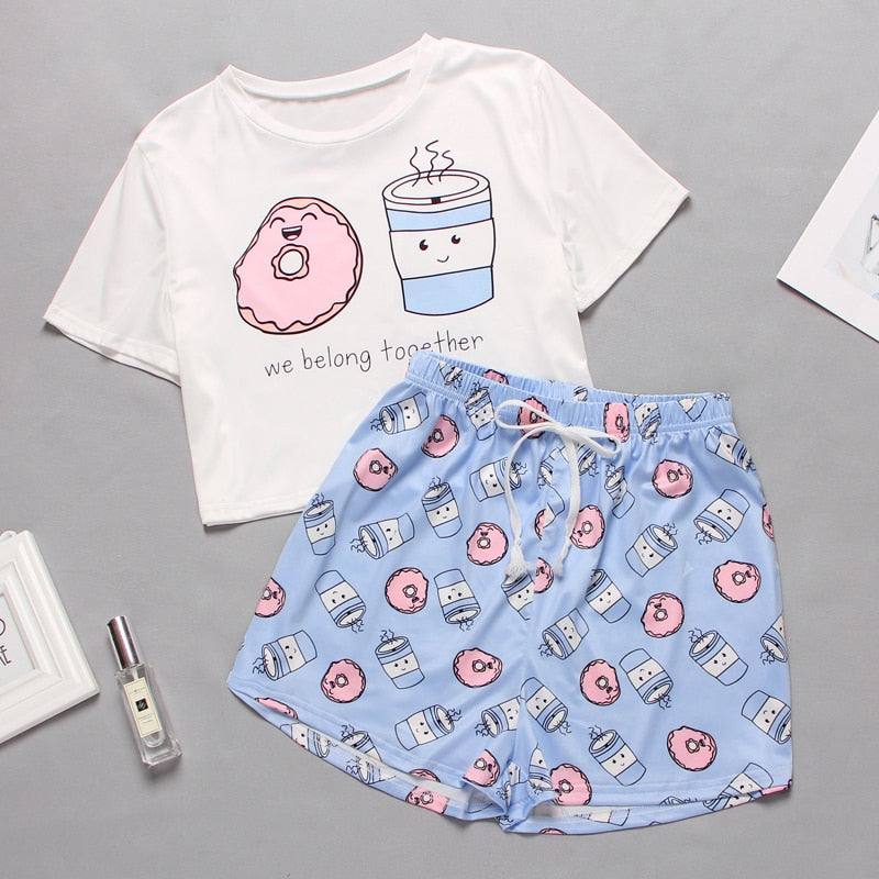 Womens Homewear Cute Cartoon Printed Pajamas Set Casual Short Sleeve T-Shirt Sleepwear Nightwear Set Summer Pyjama For Women Set