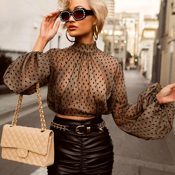 Lace Polka Dot Women Blouse Black Turtleneck Long Sleeve Cropped Mesh Top Streetwear Clubwear Transparent Sexy Crop Top