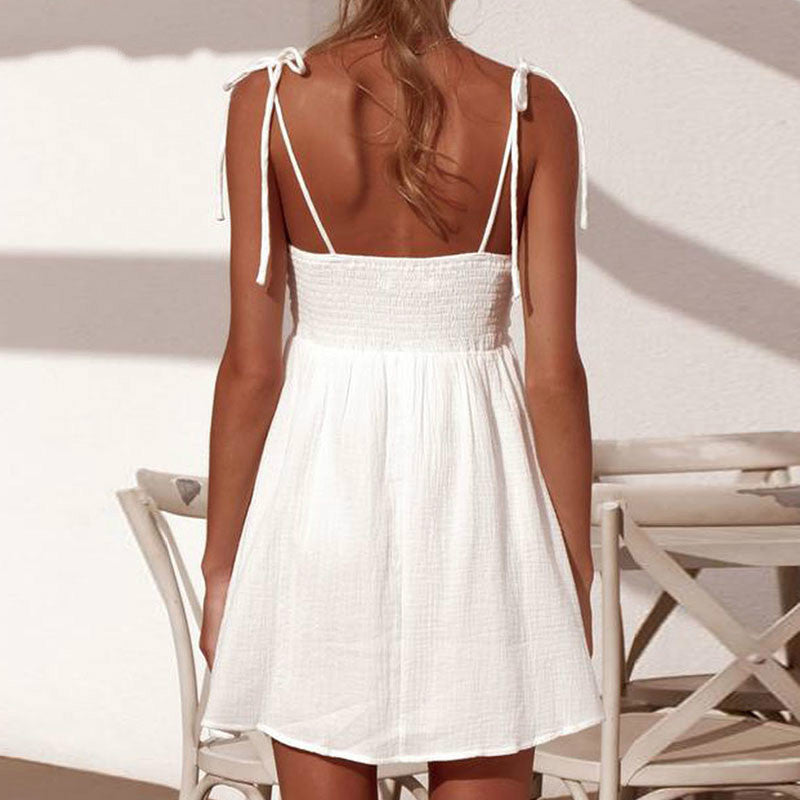 Sexy Spaghetti Strap Dress Women A Line White Strapless Plus Size Lace Up Off Shoulder Backless Beach Dress