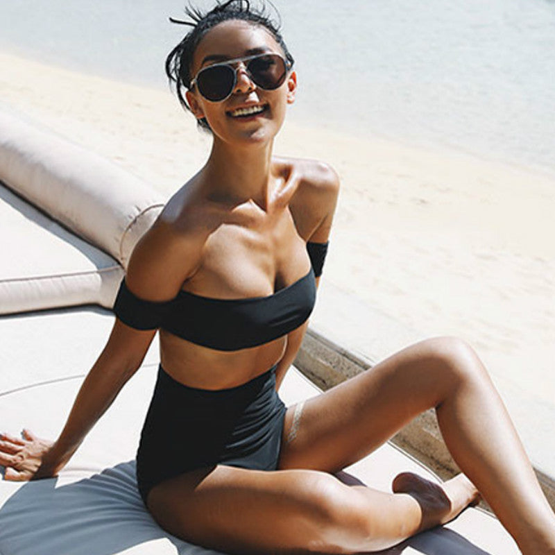Off Shoulder Swimsuit  Arrival Strapless Bandeau Sexy Bikini Set Women Swimwear High Waist Black Backless Bathing Suits