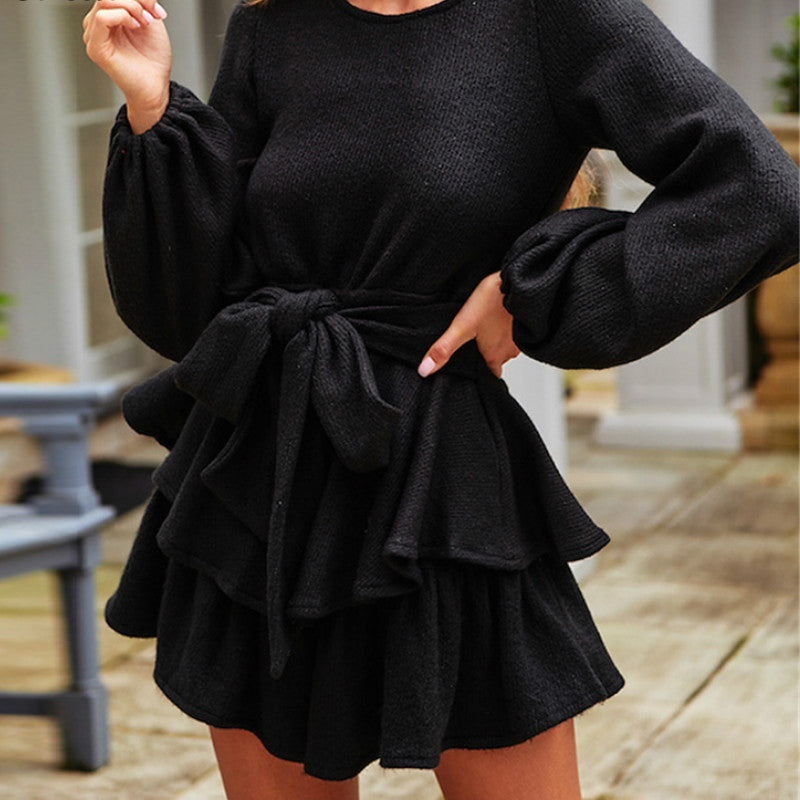 A Line Tunic Sexy Ruffle Dress Long Sleeve Sashes Tied Black White Mini Knitted Sweater Winter Dress