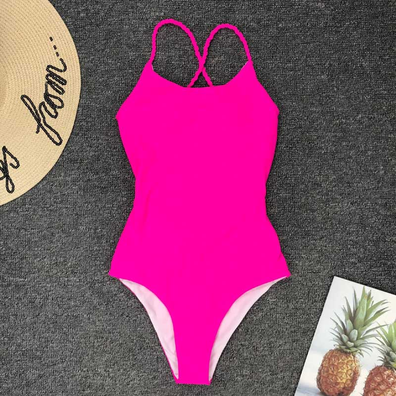 Sexy High Cut One Piece Swimsuit Backless Swim Suit Thong Bathing Suit