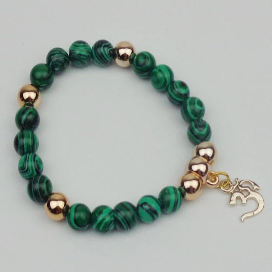 Metal OM with Beads Elastic Rope Bracelet