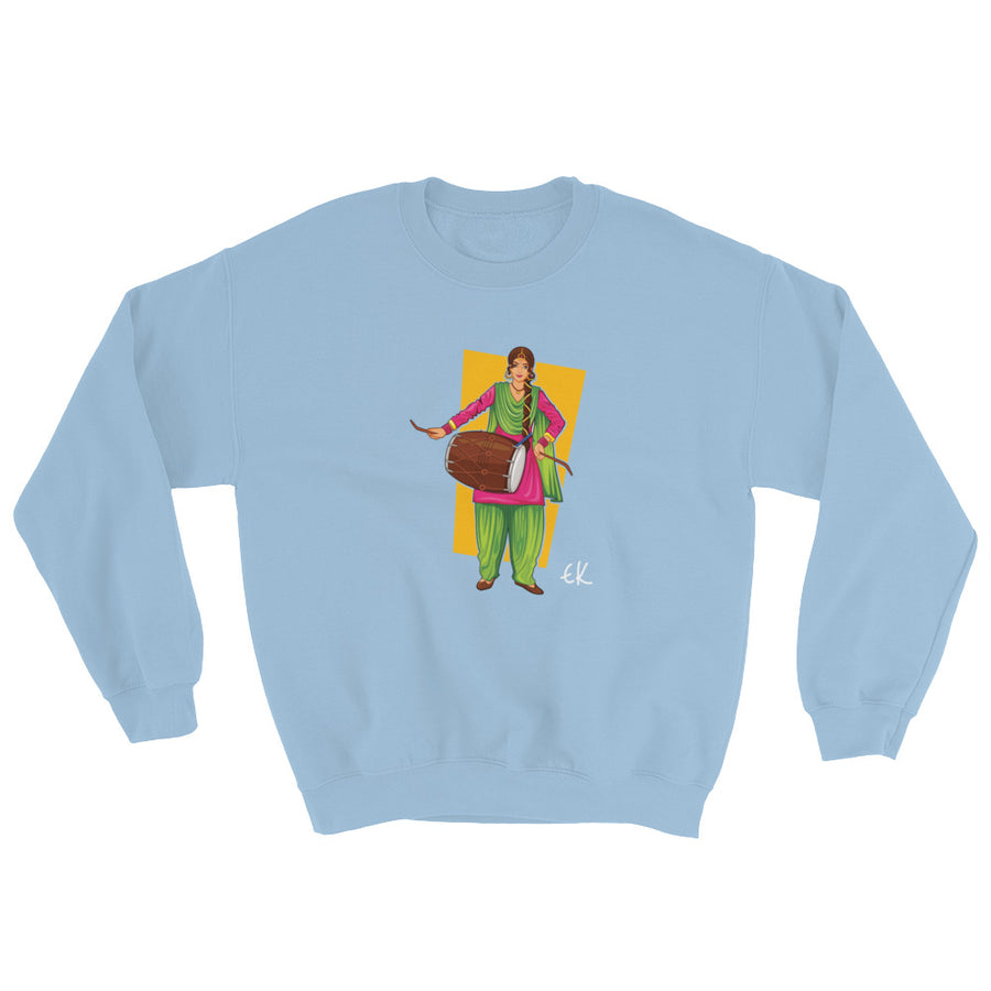 Sikh Punjabi Sardar Woman Playing Dhol And Dancing Bhangra On Holiday Like Lohri Or Vaisakhi Sweatshirt