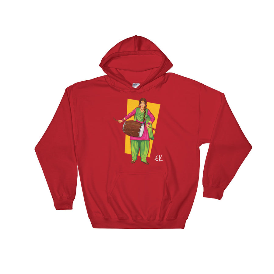 Sikh Punjabi Sardar Woman Playing Dhol And Dancing Bhangra On Holiday Like Lohri Or Vaisakhi Hooded Sweatshirt