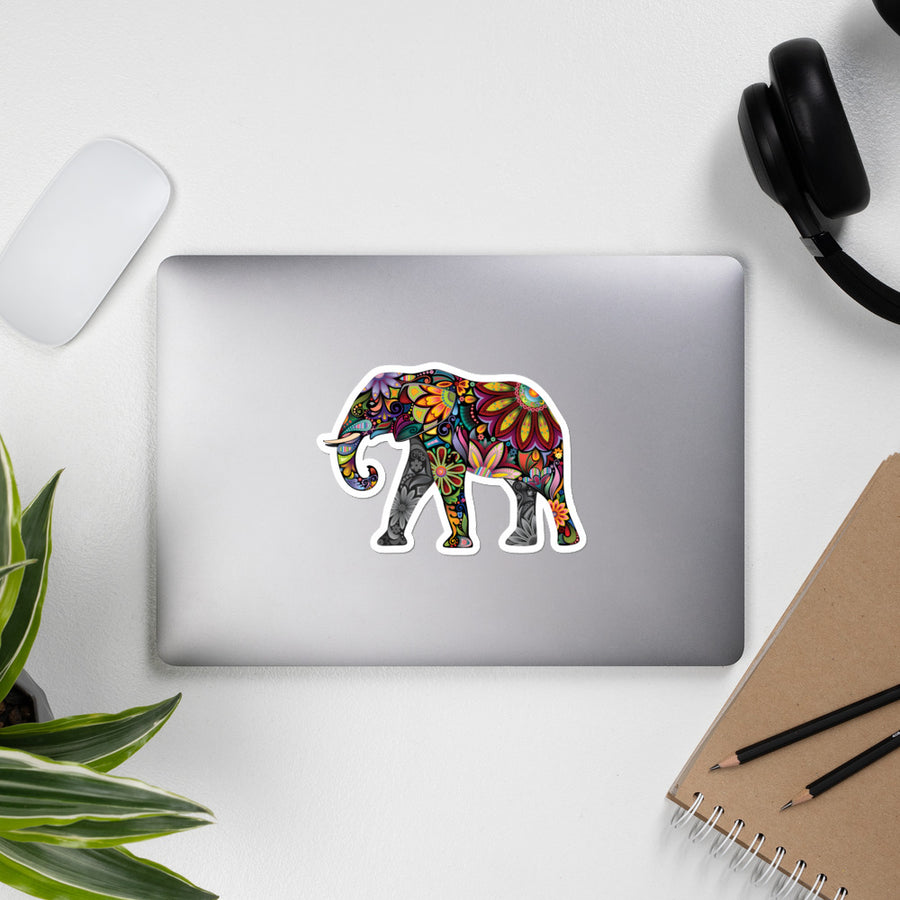 Colourful Elephant - Bubble-free stickers
