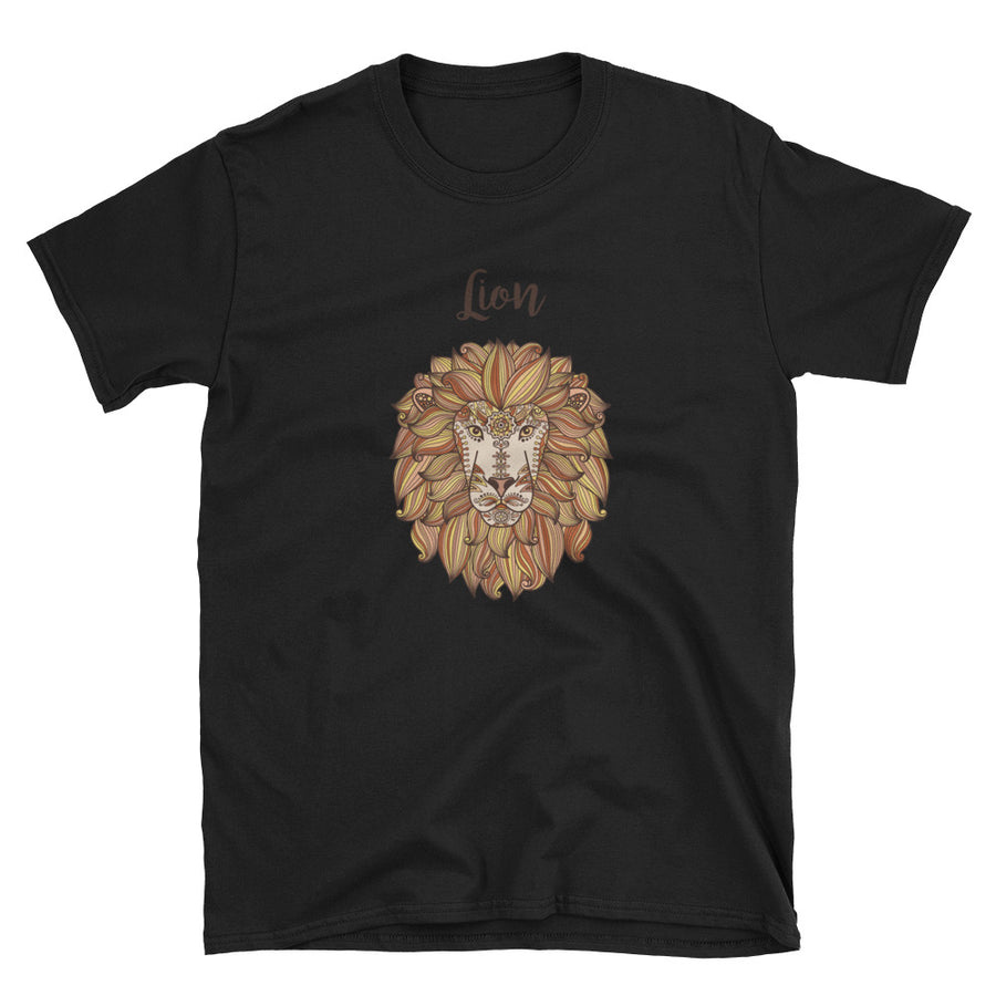 Lion Head With Ethnic Floral Pattern Short-Sleeve Unisex T-Shirt