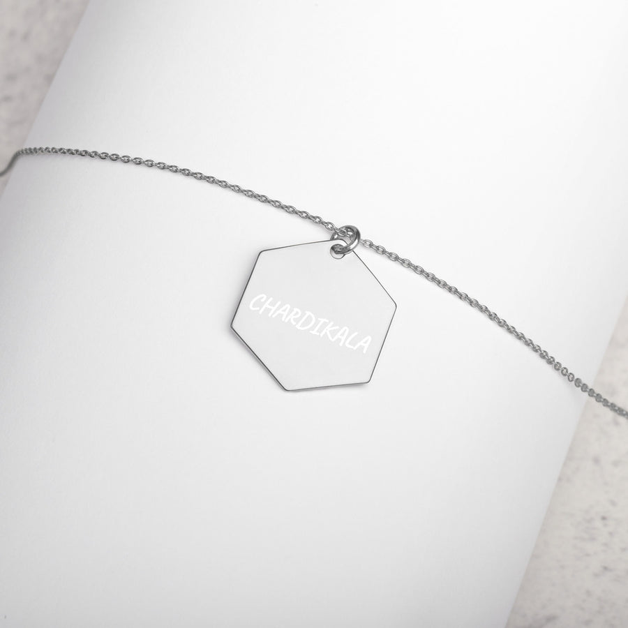 CHARDIKALA - Engraved Silver Hexagon Necklace