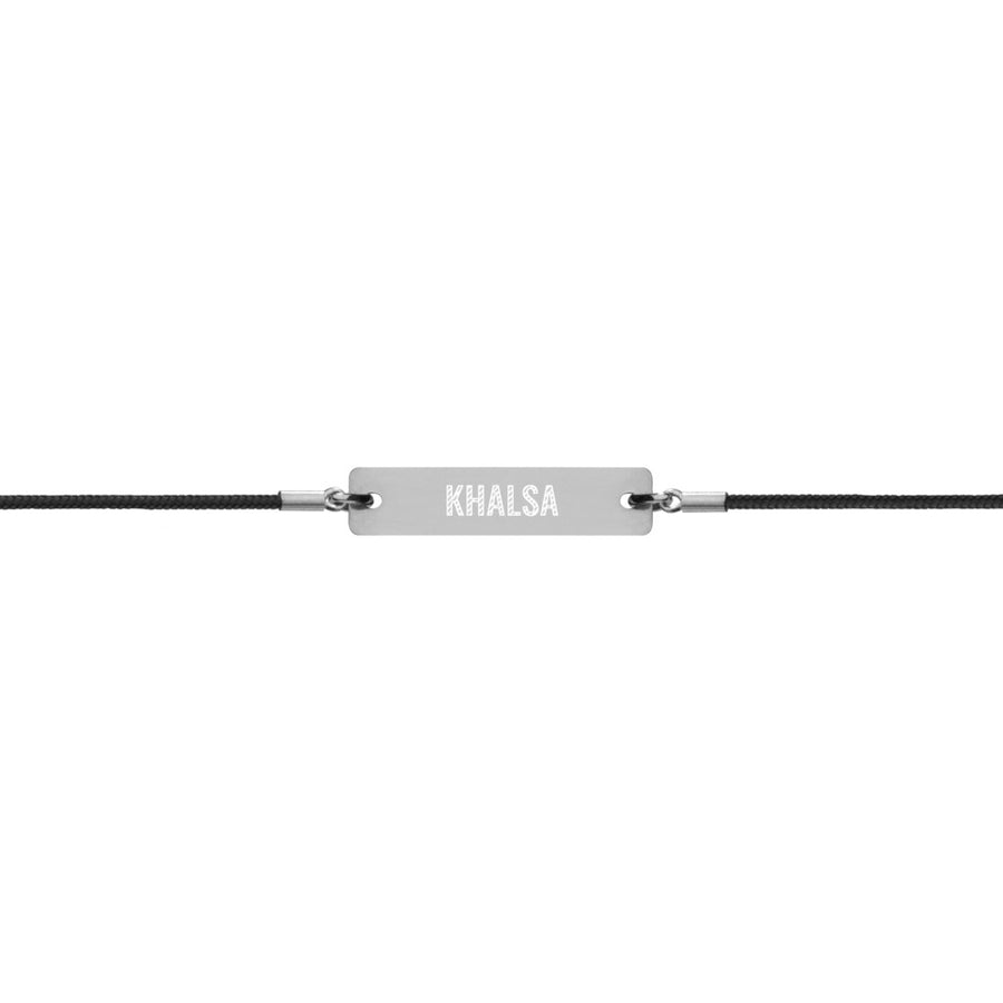 KHALSA  Engraved Silver Bar String Bracelet