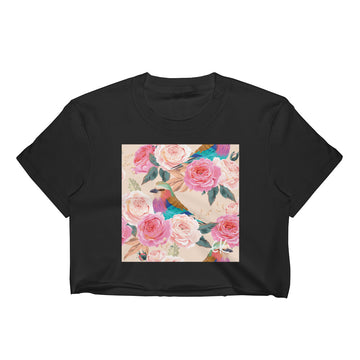 Seamless Vintage Roses Women's Crop Top