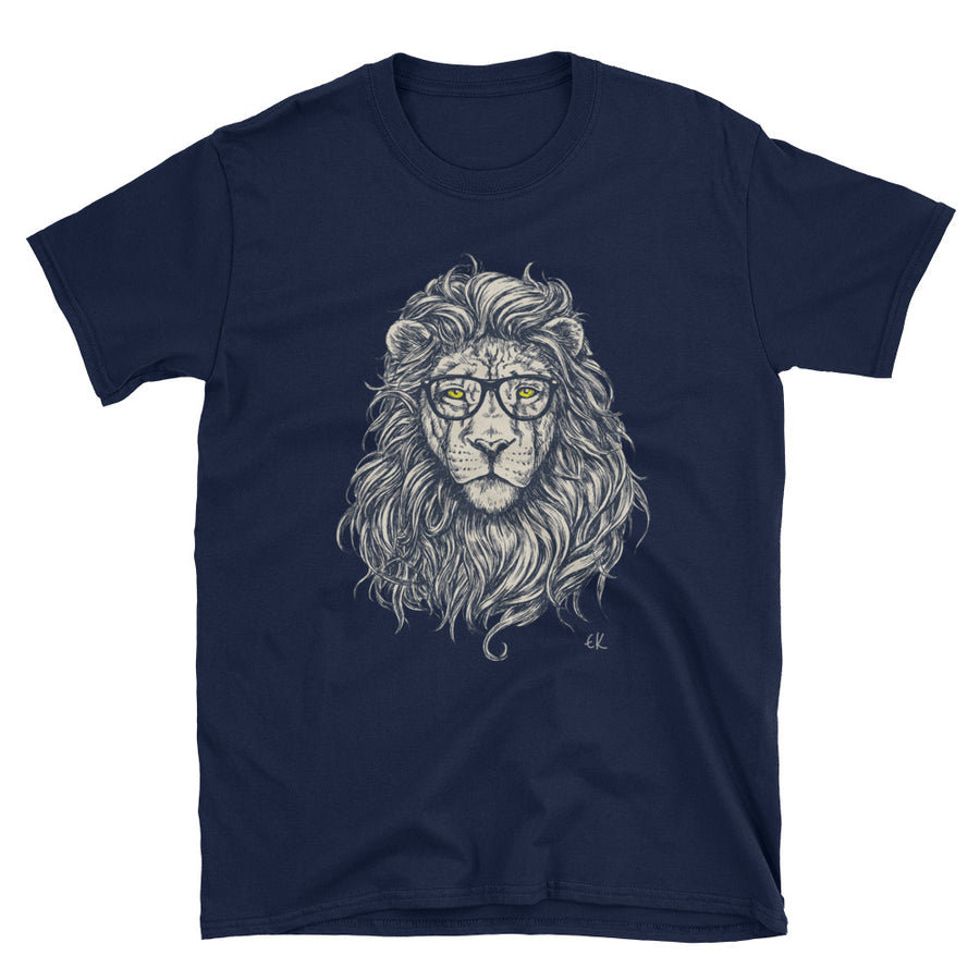 Hipster Lion Vector Short-Sleeve Unisex T-Shirt