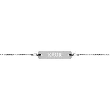KAUR Engraved Silver Bar Chain Bracelet