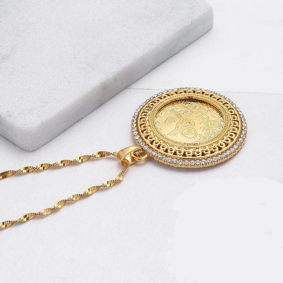 Gold and Crystal Allah Pendant Necklace
