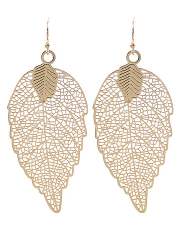Gold Filigree Leaf Earrings