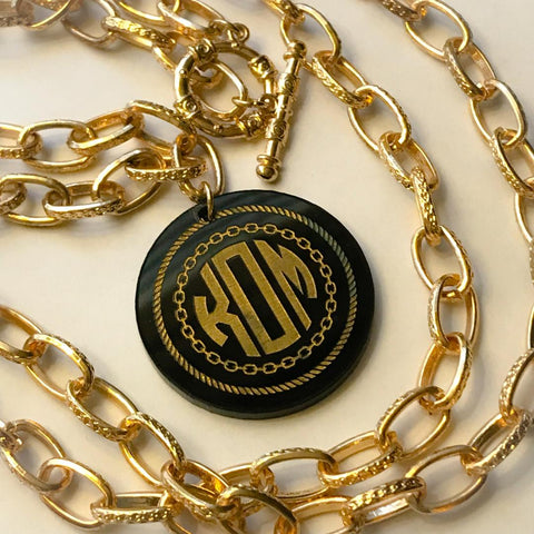 Gold Rope Monogram Necklace