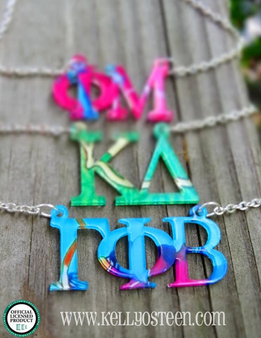 Patterned Greek Letters Floating Necklace