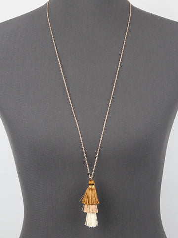 Neutral Gold Tassel Necklace