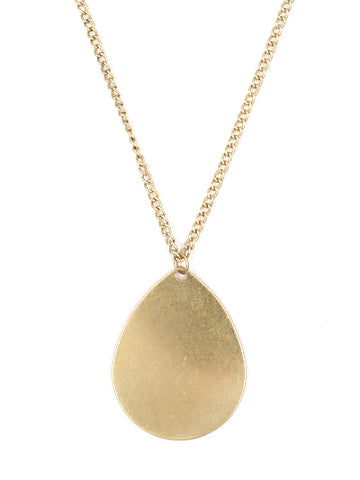 Antique Matte Gold Pear Necklace