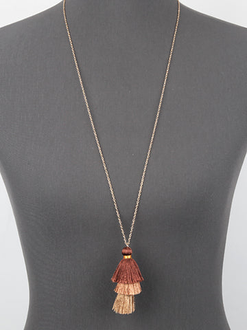 Gold Brown Tassel Necklace