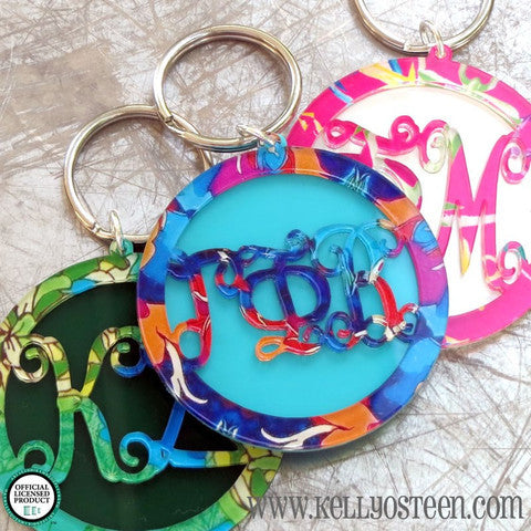 Patterned Greek Script Layered Key Ring