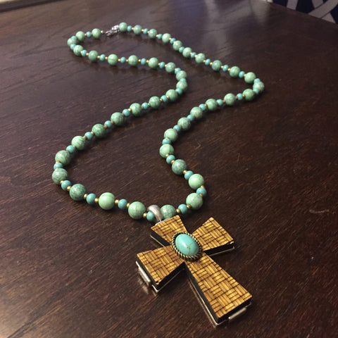 Turquoise Beaded Wooden Woven Cross Necklace