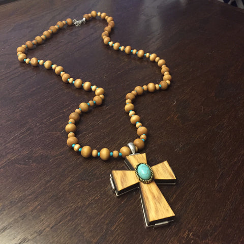 Beaded Wooden Cross Necklace