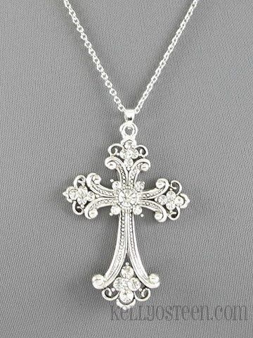 Silver Rhinestone Cross Necklace