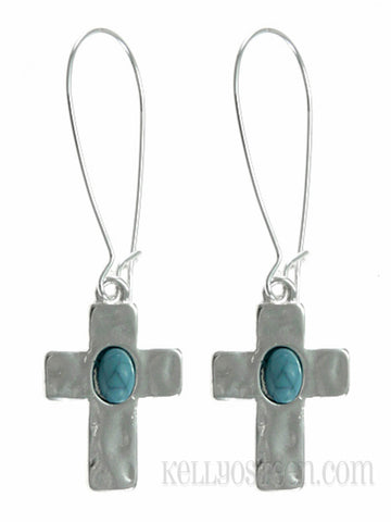 Hammered Silver Tone Cross with Turquoise Earrings