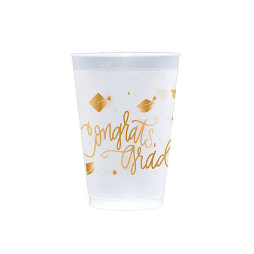 Congrats, Grad! Gold ink | Frosted Cups