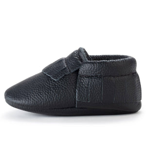 Black Genuine Leather Baby Moccasins