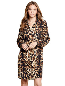 Long Sleeve Leopard Shirt Dress