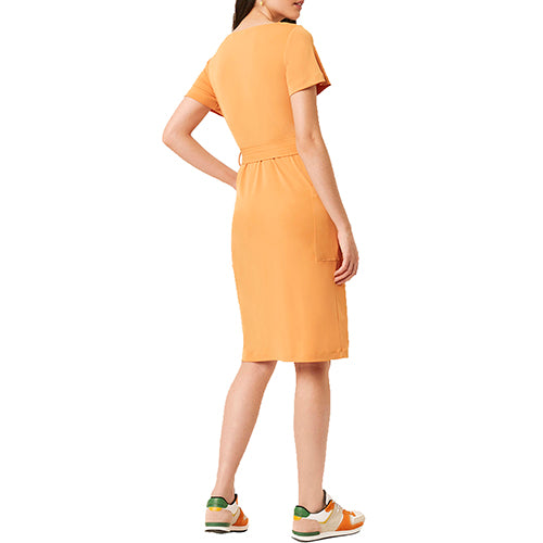 Orange Slinky Button Down Tie Dress with Pockets