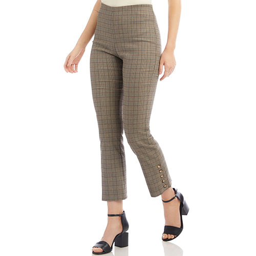 Button Hem Check Pants