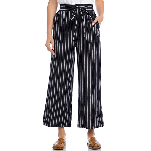 Cropped Stripe Black Wide Leg Pant