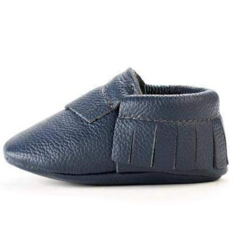 Navy Genuine Leather Baby Moccasins