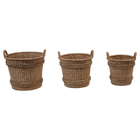 Woven Water Hyacinth and Rattan Baskets