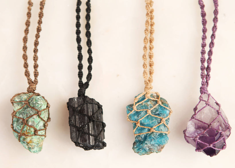 macramé wrapped crystals