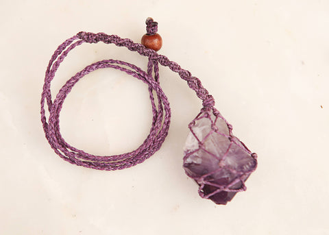 Amethyst Wrapped Crystal - Mauve