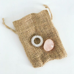 Acupressure Ring and Rose Quartz Tumble set