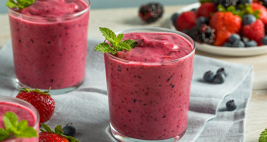Berry chia banana protein smoothie recipe for bariatric surgery patients