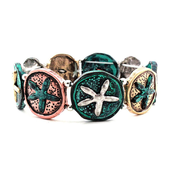 Multicolored 3D Starfish Round Metal Charm Elastic Bracelet