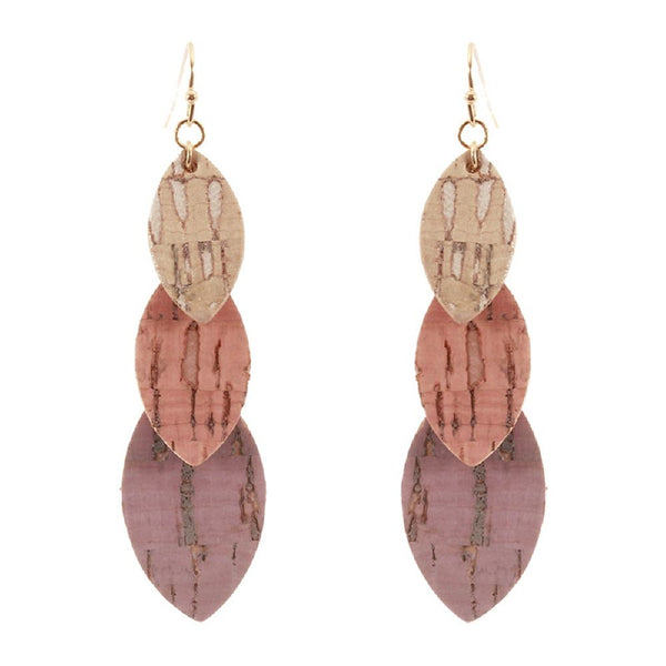 3 Layered Cork Marquise Drop Earring