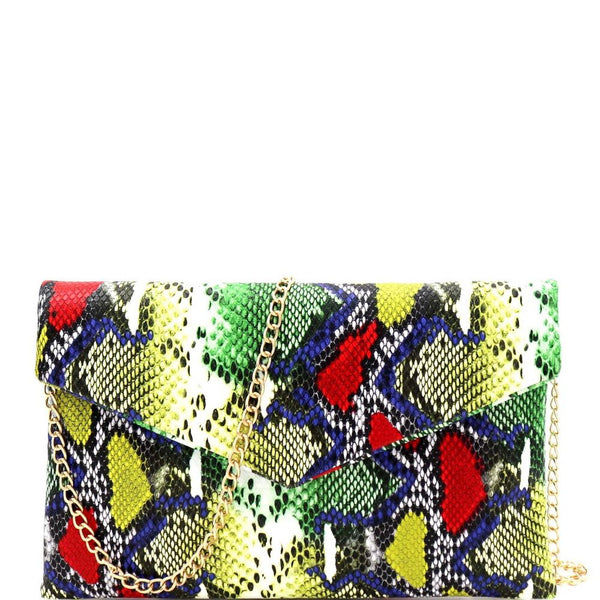 Snake Print Envelope Clutch with Chain Strap